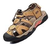 VTASQ Sandali Sportivi Uomo Cuoio Sandali Trekking Sandali Estivi Chiusi Sandali da Mare A...