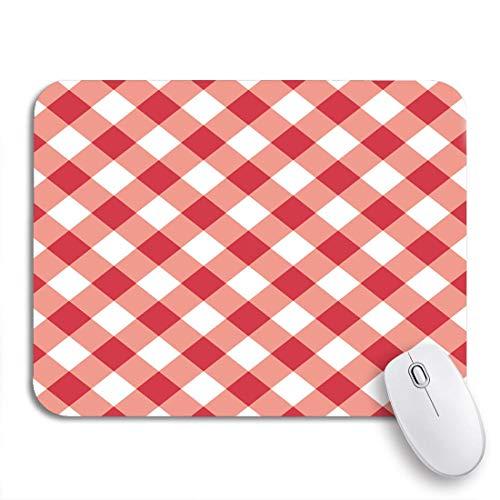 Gaming mouse pad weiß diagonale rote tabelle plaid gingham picknick muster zusammenfassung rutschfeste gummi backing computer mousepad für notebooks maus matten