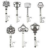 XONOR Portachiavi apribottiglie - Assortiti Vintage Skeleton Keys, Matrimonio, Feste (70 Pezzi, Argento)