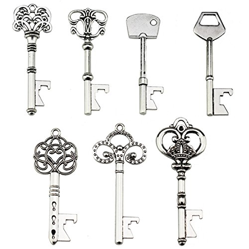 Key Bottle Openers - Assorted Vintage Skeleton Keys, Wedding Party Favors (Pack of 70, Silver)