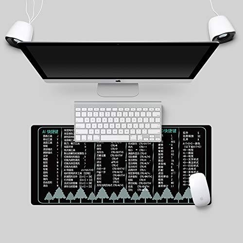 HONGHUAHUI Dikker Kantoor Oversized Muis Pad Sneltoetsen Veelal Gebruikte Sneltoetsen Muis Pad Meisjes Tabel Pad Game Leren Toetsenbord Pad 800x300mm V017