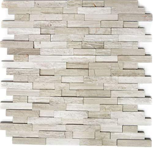 Mosaico azulejos mármol piedra natural ladrillo gris rayas MOS40-3D20