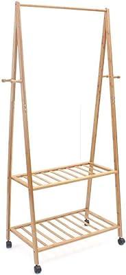 Amazon.com: Homfa Bamboo Clothes Rack on Wheels Rolling ...