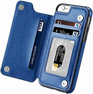 حافظة حماية لهاتف ايفون 6 بلس و6 اس بلس مضادة لصدمات مع مسند وفتحات للبطاقات، لون ازرق