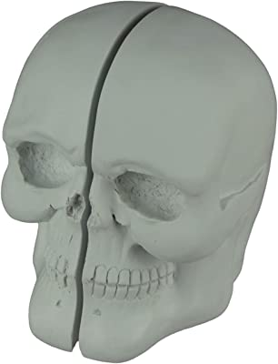 Transpac White Skull Left and Right Half Bookend Set