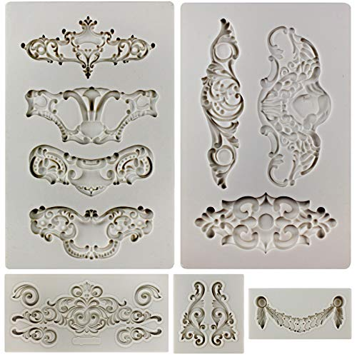 FUNSHOWCASE Royal Crown Baroque Style Ornament Silicone Molds 5-Count Art Décor Filigree and Scrollworks