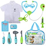 Glonova Kids Doctor Kit, 12 Pcs Pretend Doctor Role Play Kit, Pretend Play Doctor Set with Doctor Clothes and Accessories, Carry Bag Included