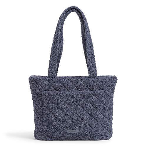 Vera Bradley Women's Teddy Fleece Sherpa Small Vera Tote Bag Handbag, Thunder Blue, One Size