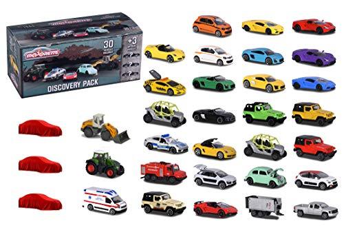 Majorette 30 + 3 Discovery Set, contiene 20 veicoli stradali, 10 veicoli di alta qualità, 3 auto super speciali, 1:64, 7,5 cm, con cassetta degli attrezzi