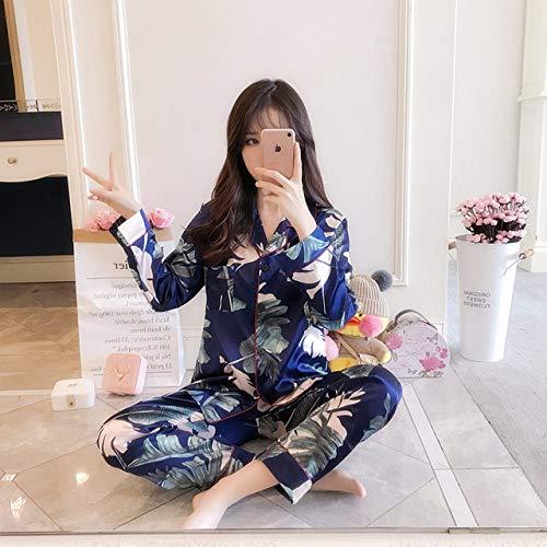 XUHRA pyjama voor de zomer, pyjama, groot formaat, voor vrouwen, pyjama, satijn, pyjama, nachtkleding, pyjama, lange mouwen, schattig, bovendeel en broek, lang, pyjama, nachtkleding