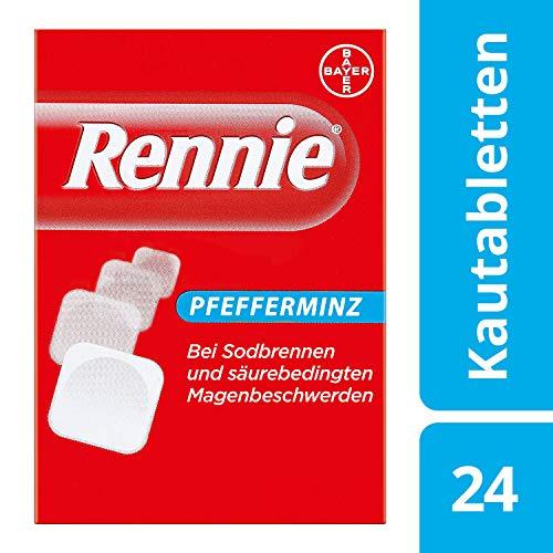 Rennie Pfefferminz lindern Sodbrennen und säurebedingte Magenbeschwerden, 24 Kautabletten