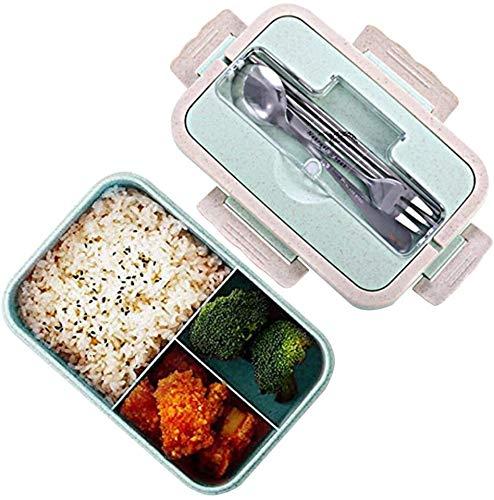Bento Box, lancheira natural de segurança de trigo, 1000 ml, recipiente de armazenamento de alimentos à prova de vazamento com garfo, pauzinhos, colher para crianças e adultos, pode ir ao micro-ondas (verde)