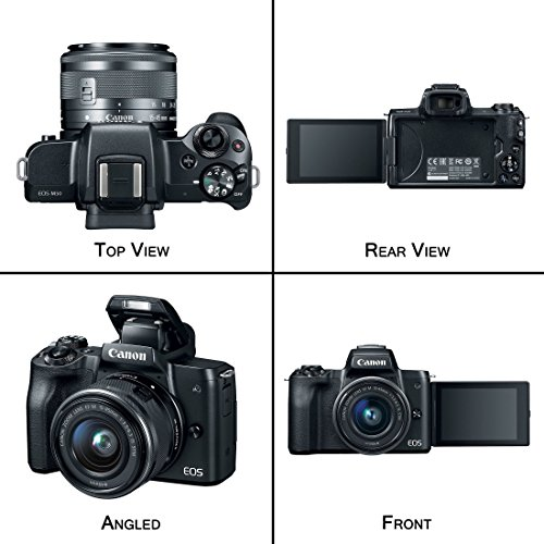 Canon EOS M50 Mirrorless Digital Camera (Black) with 15–45mm f/3.5–6.3 is STM Lens + Advanced Accessory Bundle - M50 Camera Includes to Get Started