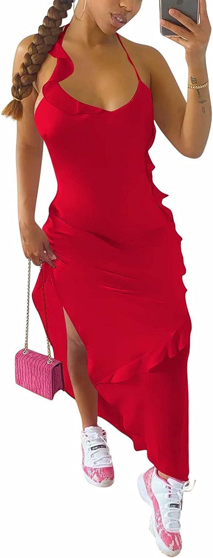 Women's Bodycon Halter Maxi Dress Sleeveless Summer Sexy Club Ni