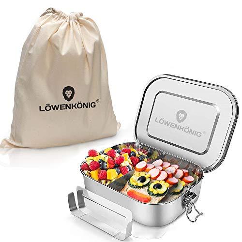 LÖWENKÖNIG® Große Edelstahl Brotdose Auslaufsicher XL mit [1400ml] + Baumwollbeutel & Trennwand - Die verbesserte Lunchbox ist auslaufsicher. & kinderleicht zu Reinigen. - Für Kinder & Erwachsene.