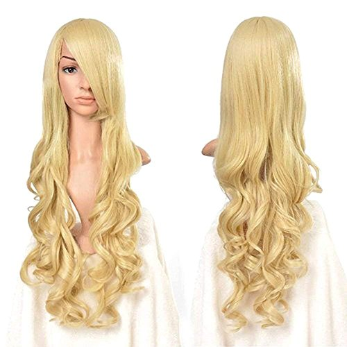 """Rbenxia Curly Cosplay Wig Long Hair Heat Resistant Spiral Costume Wigs Anime Fashion Wavy Curly Cosplay Daily Party Light Gold 32"""" 80cm"""
