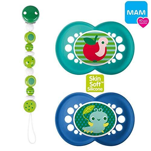 Lot de 2 tétines en silicone MAM Original « Skin Soft » - Vert clair 6-16 Collier à tétine en perles de bois - Vert clair/naturel - Boîte stérilisée.