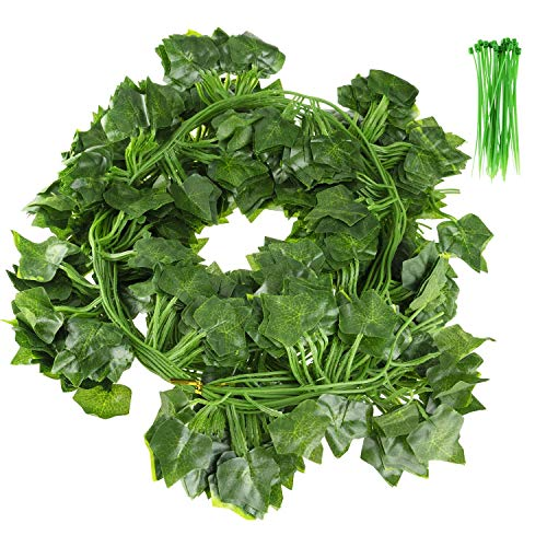 12 Pack Artificial Ivy, Fake Ivy Garland Decorations,Fake Plants,Fake Vine,Vine Decoration for Wedding,Party, Garden, Home Decoration (with 24 cable ties)