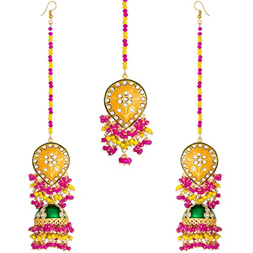 Aheli Indian Traditional Faux Beads Tassel Studded Enamel Jhumki Earrings with Maang Tikka Set Ethnic Wedding Fashion Party Jewellery for Women