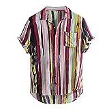 Camisas Hombre Flores 2019 Moda SHOBDW Playa de Verano Impresión Boho Vintage Retro Blusa Slim Fit Tops Shirts Cuello Mao Camisetas Hombre Manga Corta Tallas Grandes 5XL (4XL, P-Rojo)