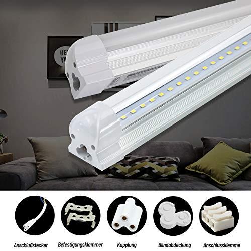T8 LED Röhre 150cm Leuchtstoffröhre komplett Leuchtstofflampe Röhrenlampe 23w 2300 Lumen Neutralweiss 4000K LED Tube Unterbauleuchte Küche Lichtleiste Leuchtröhre mit Fassung klarer Deck