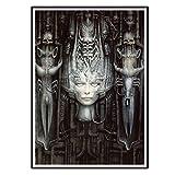 Swarouskll HRGiger Fantasy Art Alien Poster imagen telón de fondo decoración de la pared decoración de la sala de estar del hogar-50X70Cm sin marco 1 Uds