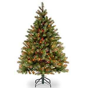 National Tree Company 'Feel Real' Pre-lit Artificial Christmas Tree | Includes Pre-strung Multi-Color Lights and Stand | Downswept Douglas Fir – 4.5 ft