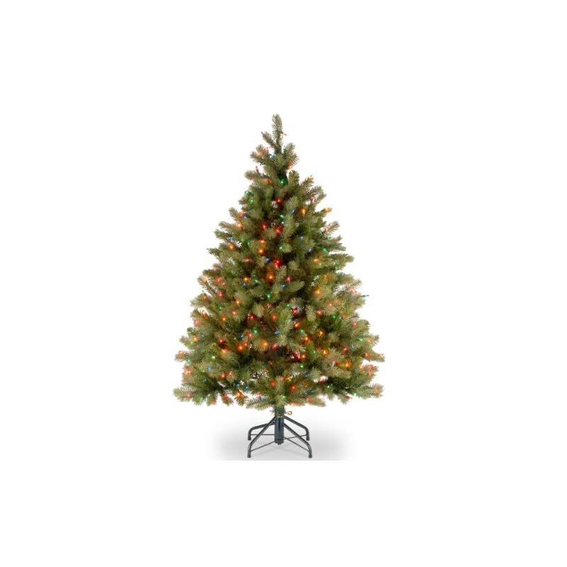 silk flower arrangements national tree company 'feel real' pre-lit artificial christmas tree   includes pre-strung multi-color lights and stand   downswept douglas fir - 4.5 ft
