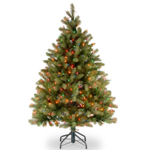 "National Tree 4.5 Foot ""Feel-Real"" Downswept Douglas Fir Tree with 450 Multicolor Lights, Hinged (PEDD1-325-45)"