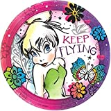 Amscan 551511 Round Plates   Disney Tinkerbell Keep Flying Collection   8 pcs   Party Accessory,Multicolor,9'
