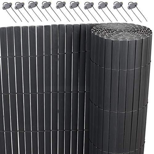 Lestarain PVC Sichtschutzzaun Sichtschutzmatte Gartenzaun SichtschutzWindschutz für Balkon &Terrasse,Grau 300 * 160cm