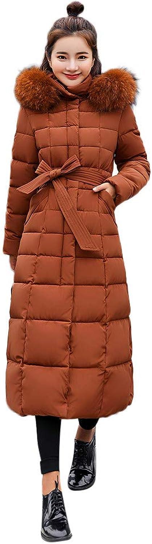 Wokasun.JJ Women Outerwear Fur Hooded Coat Long Cotton-padded Jackets Pocket Coats