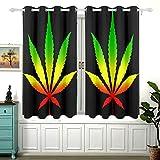 Yushg Rasta Colors - Hoja de Cannabis para habitación de Dormitorio, Cortinas de oscurecimiento para Ventanas, Cortinas de Dormitorio deslizantes Cortas, Juegos de 2 Paneles, cenefas de