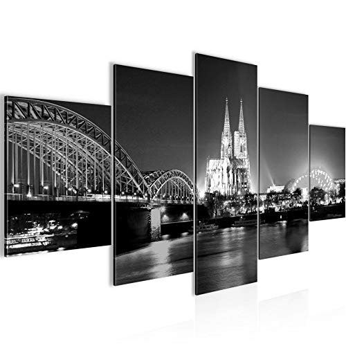 Bilder Köln Wandbild Vlies - Leinwand Bild XXL Format Wandbilder Wohnzimmer Wohnung Deko Kunstdrucke Grau 5 Teilig - MADE IN GERMANY - Fertig zum Aufhängen 602653c