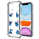 DISNEY COLLECTION iPhone 11 Case Disney Stitch Crystal Clear Design Case with 4 Corners Shock Skid Proof Scratch-Resistant PC+TPU Protection Cover
