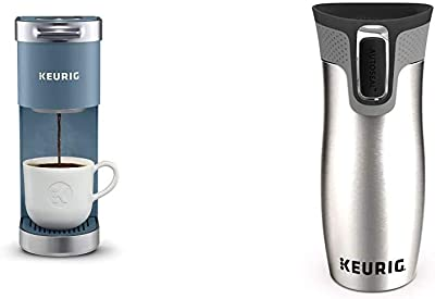Keurig K-Mini Plus Coffee Maker, With 6 to 12 Oz. Brew Size & Contigo Autoseal Coffee Travel Mug, West Loop Vacuum Insulated with Easy-Clean Lid, 14 Oz, Silver