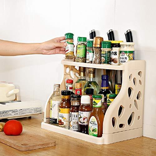 Qisiewell Especiero práctico especiero para armario de cocina y superficie de trabajo para orden en la cocina, extensible de plástico PP en 2 niveles, 40 x 24,5 x 31,5 cm, beige