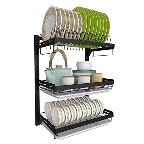ZLSP Cutlery Rack 3-Tier Kitchen Countertop Organizer Holder Rack for Spice Jar, Can, Bottle And More -Stainless Steel (Size : Three floors)