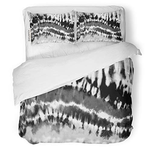 SanChic Duvet Cover Set Abstract Black and White Bleached Rainbow Tie Dye Decorative Bedding Set with 2 Pillow Cases Full/Queen Size