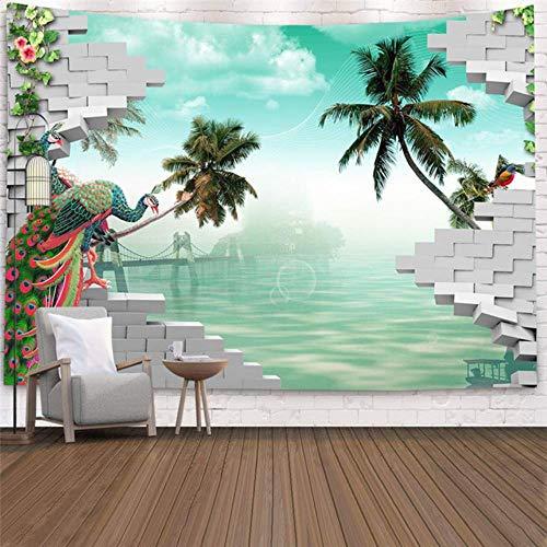Tapiz de imitación para colgar en la pared del árbol tropical Tapices para decoración del hogar, mar, amanecer y dormitorio del hogar