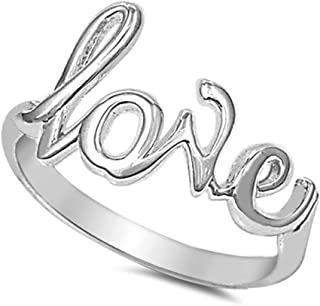 Sterling Silver Love in Script Ring Silver (Color Options, Sizes 2-15)