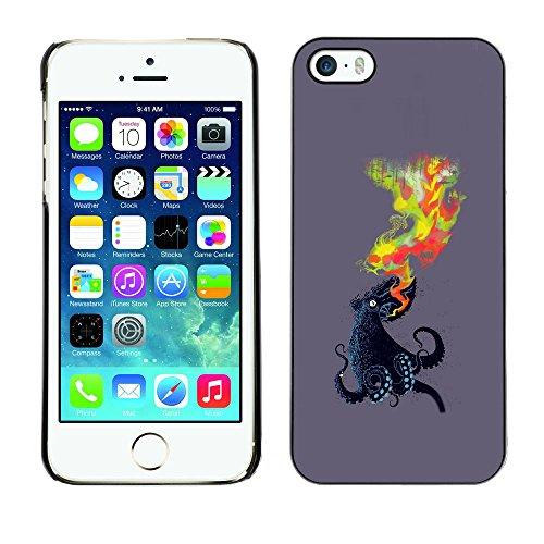 SuperStar // Immagine fredda Custodia rigida Calotta di protezione del PC Hard Case Protective Cover for iPhone 5 / 5S / Octopus Fiamma /