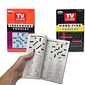 TV Guide Magazine Crossword Puzzle   Word Puzzles Book, Word-Find Puzzle Book Digest Size for Travel (2 Pack)