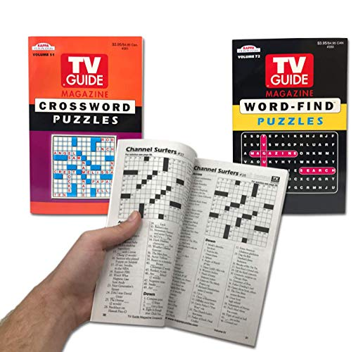 TV Guide Magazine Crossword Puzzle | Word Puzzles Book, Word-Find Puzzle Book Digest Size for Travel (2 Pack)