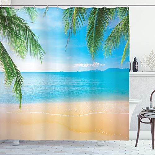 ABAKUHAUS Strand Duschvorhang, Exotische Lagune Sand Ozean, Leicht zu pflegener Stoff mit 12 Haken Wasserdicht Farbfest Bakterie Resistent, 175 x 220 cm, Himmel Blau Grün Sand Braun