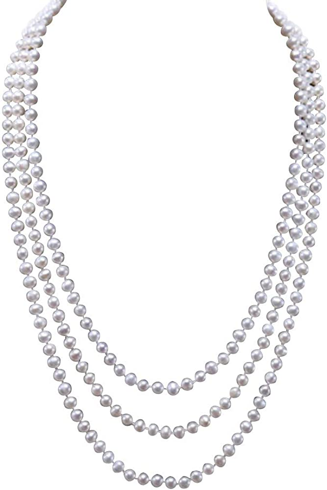 JYX Pearl Long Strand Necklace 6.5-7.5mm Natural Round Freshwater White Pearl Necklace Long Swaeter Necklace 63