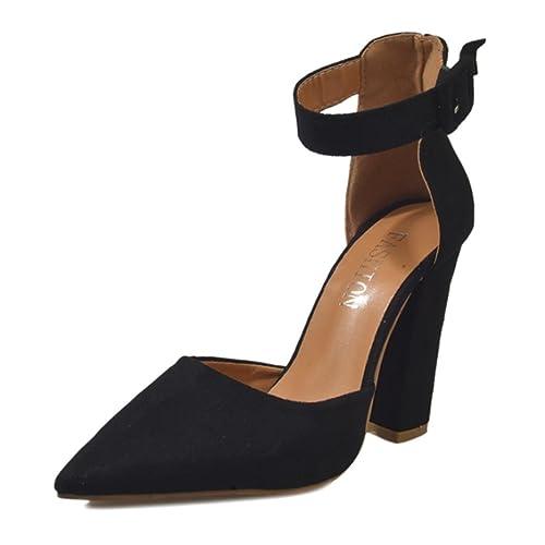 63f67ae9f OverDose Women Buckle Strap Ladies Ankle High Heels Block Party Singel Shoes