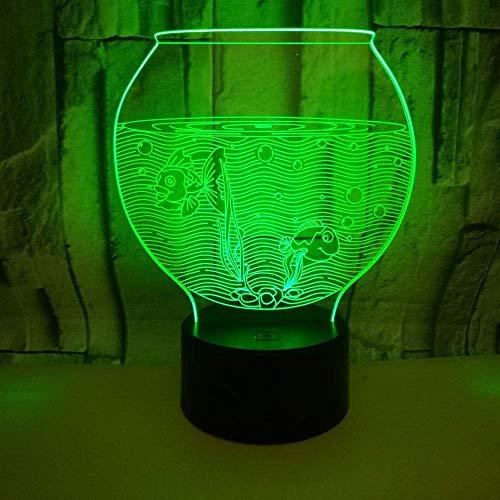 Aquarium kleurrijke 3D-tafellamp, kleine geschenk, kleurrijk 3D-nachtlampje, 3D-sfeer, kleine tafellamp met afstandsbediening, cadeau voor kinderen