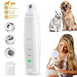 Dog Nail Grinder Clipper Cat Pet Nail File Trimmer Electric USB Charge Clippers Claw Care Low Noise with 3 Grinding Wheels for Small/Medium/Large Animals