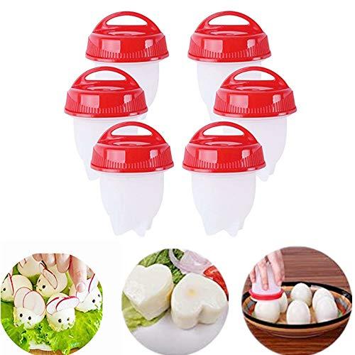 【6 Stück】Eierkocher Silikon - Egglettes Cooker Food Grade PP Eggie, Egg Shaper Omelette Nonstick Cooking Tool, Pochier Schnelle, Kitchen Gadgets Accessories